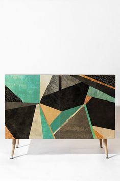 Elisabeth Fredriksson Turquoise Geometry Sideboard DENY Designs Home Furniture Makeover, Furniture Decor, Painted Furniture, Furniture Design, Luxury Home Accessories, Decor Around Tv, Geometric Furniture, Modern Sideboard, Buffets