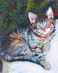 """Tiger,figure,oil on canvas,10x8,$450"" - Original Fine Art for Sale - © Joy Olney"