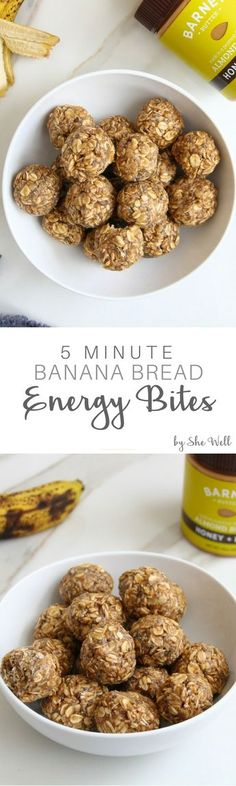 These easy banana bread bites make a great pre or post workout snack for a boost of energy! They also pack well for lunches at work or school, are vegan and can be made gluten-free! Click to read now or pin to save later! #partner