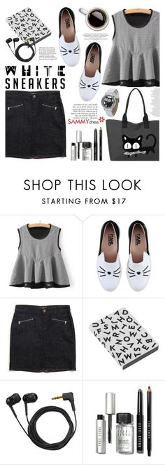 """""""Bright White Sneakers"""" by helenevlacho ❤ liked on Polyvore featuring Karl Lagerfeld, Tommy Hilfiger, Nuuna, Sennheiser, Anja, Bobbi Brown Cosmetics, contestentry and whitesneakers"""