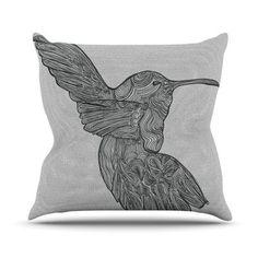 "KESS InHouse Hummingbird Throw Pillow Size: 26"" H x 26"" W"