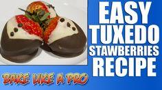 Easy Tuxedo Strawberries Recipe ( Chocolate Covered Strawberries )