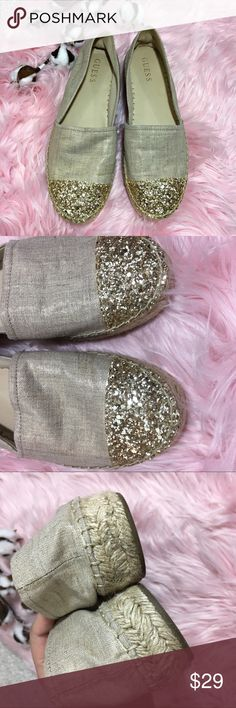 GUESS gold glitter slip on canvas espadrille shoes Cute golden glitter toe shoes / canvas with espadrille bottoms / in near perfect condition! Guess Shoes Espadrilles