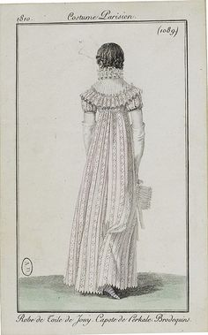 via Flickr Costume Parisien ca 1802 Regency Gown, Regency Era, Period Dramas, Country Christmas, Historical Clothing, Fashion Plates, Fabric Patterns, Dame, Printing On Fabric