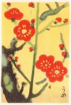 Branch of red flowers matchbox.