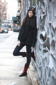 Name: Elizabeth SaltSpotted In: NohoWhat She's Wearing: American Eagle pants and an Aritzia coat. #refinery29 http://www.refinery29.com/nyc-winter-layering-street-style#slide-4