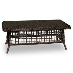 Find it at the Foundary - Espresso Rope Weave Coffee Table with Glass