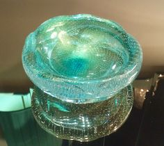 Clear Turquoise Murano bowl w/controlled bubbles & gold inclusions; ca. 1950