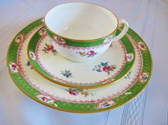 Minton Trio Cup, Saucer and Luncheon Plate Pattern Green Boarder with Blue and Pink Roses