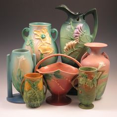 Collection of Roseville Pottery offered by Belhorn Auctions.
