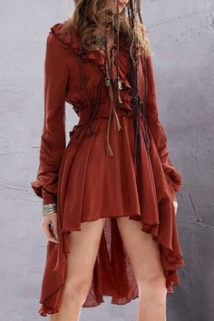 Solid Color Ruffled Long Sleeve Dress DARK RED: Long Sleeve Dresses | ZAFUL