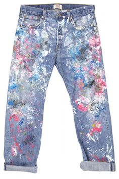 Fall 2014 Denim Trends - Celeb-Inspired Fall 2014 Jeans for Women Diy Jeans, Painted Jeans, Painted Clothes, Celebrity Jeans, Jeans Miss Me, Paint Splatter Jeans, Diy Kleidung, Jeans Straight, Do It Yourself Fashion