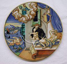 Plate Painted by Fra Xanto Avelli da Rovigo ~ ca.1486-ca.1582 ~ 1535 ~ Italian (Urbino) Tin-enameled earthenware ~ Metropolitan Museum of Art