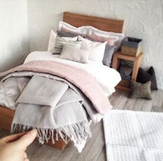 """247 Likes, 21 Comments - Mad Missy Minis (@mad_missy_minis) on Instagram: """"Custom bedroom styling for a delightful 15"""" #minifee #bjddoll features gorgeous dusky pink linen-…"""""""