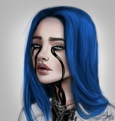 """My inspiration for this was obviously Billie Eilish and her newest video """"When The Party's Over"""" If you haven't seen it yet check it out! Music Video: w. Billie Eilish - When The Party's Over Billie Eilish, Cartoon Wallpaper, Wallpaper Quotes, Videos Instagram, Six Feet Under, Album Cover, Fan Art, Portrait, Funny Videos"""