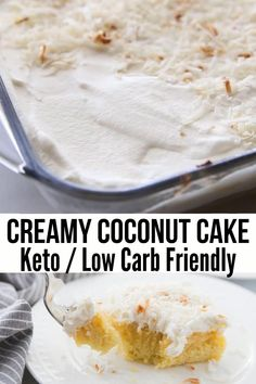 This delicious homemade creamy Keto Coconut Cake is the perfect low carb dessert for the keto diet. It's not only easy to make but full of coconut flavor. Keto Desserts, Lemon Dessert Recipes, Coconut Desserts, Coconut Recipes, Coconut Cakes, Dinner Recipes, Recipe For Coconut Cake, Lemon Cakes, Easter Recipes