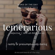 The is temerarious. Fancy Words, Big Words, Words To Use, Great Words, Unusual Words, Weird Words, Rare Words, Grammar And Vocabulary, English Vocabulary
