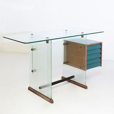 GIO PONTI: small transparent desk for Vetrocoke, Milan, 1939: see-through
