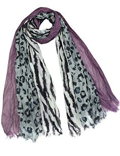 City Jungle Zebra Leopard Print Triple Layer Long Scarf Shawl - Violet *** Check this awesome image @