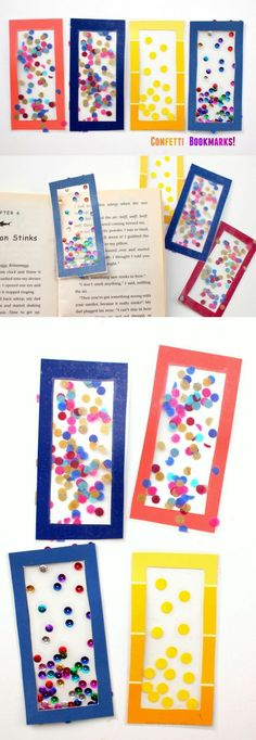 Your kids are going to love making these DIY bookmarks with a twist - just add paint chips and confetti made from tissue paper. Creative craft idea for teens too, and cute. So easy! #artsandcraftsforkidswithpaper,