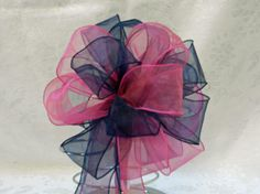 Hot Pink and Navy Blue Wedding/ Pew Bows set by creativelycarole, $90.00