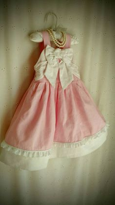 GIRL'S EASTER DRESS, Gymboree,  Size 2T, Pink And White, Shabby Baby, Sundress, Pinafore Dress, Altered Couture Baby, Linen Cotton by MissPoppysFancy on Etsy