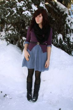 Jean dress with sweater and scarf.- if you used a button up shirt dress this would work...