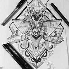 Shaka Golden Knight of the Virgo Constellation. Gamer Tattoos, Anime Tattoos, Girl Tattoos, Tatoos, Shaka Tattoo, P Tattoo, Art Virgo, Tattoo Sketches, Art Sketches