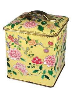 Vintage Tin Box, yellow with pink and green flowers.