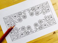 Floral Border Hand Drawn Adult Coloring Page Print