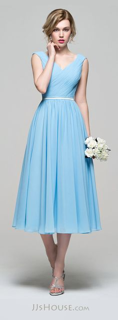 A Line Princess V Neck Tea Length Chiffon Bridesmaid Dress With Ruffle 007074187