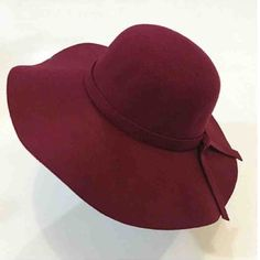 Burgundy Floppy Hat Burgundy red floppy hat with bow Accessories Hats