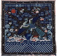 Backside Court Insignia Badge (Buzi) for a Civil Official of the 3rd Rank (Peacock), Qing dynasty (1644-1911), circa 1900-1910.  This is a silk tapestry weave (kesi) patterned with multicolored silk and gold-wrapped thread, Chinese, 11-3/4 x 11-3/4 inches.