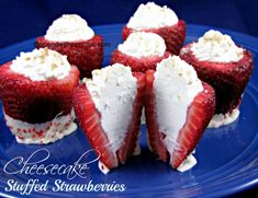 Cheesecake Stuffed Strawberries!  So easy and delicious!