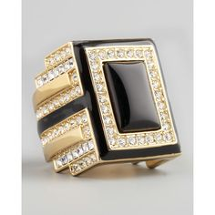 Rachel Zoe Art Deco Ring ($130) ❤ liked on Polyvore featuring jewelry, rings, antique jewelry, swarovski crystal rings, 1920s art deco engagement rings, rachel zoe ring and wide band rings