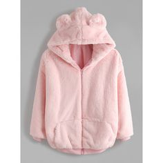 SheIn(sheinside) Pink Bear Ear Hooded Zipper Up Shaggy Coat (€27) ❤ liked on Polyvore featuring outerwear, coats, long sleeve coat, pink coat, hooded coat, collar coat and zip coat