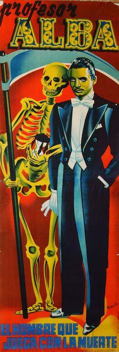 Professor Alba : Man playing with death, Anonymous, 1950?. Biblioteca Valenciana Digital, Bivaldi. Public Domain.