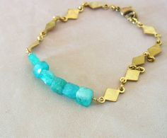 Amazonite Bracelet Blue Green Breacelet Raw Brass by QuietRobin, $34.00
