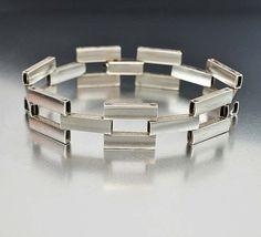 Sterling Silver Art Deco Bracelet Gate Link Engraved by boylerpf, $95.00