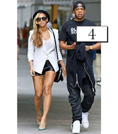@Who What Wear - Beyonce                 On Beyonce: Helmut Lang Suiting Blazer ($645)  Add polish to leather shorts with a crisply tailored white blazer.  Get The Look: T by Alexander Wang Crepe Blazer ($375) in White  Habitual Teo Coated Shorts ($165) in Onyx