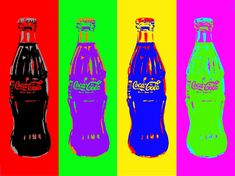I did a realistic still life of a Coke bottle, and thought I'd play around with it in Photoshop It has the coca cola colours (red, grey and black) secon. Coke, Coca Cola, Pepsi, Pop Art Food, Roy Lichtenstein, David Hockney, Jackson Pollock, Andy Warhol, Hollywood Celebrities