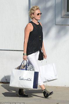 Malin Akerman in black and white outfit for shopping trip in Beverly Hills Malin Akerman  #MalinAkerman