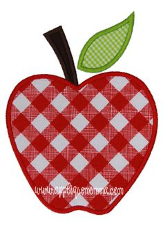 Apple Applique Design       Sizes include:   4x4 hoop 5x7 hoop      7x7 hoop6x10 hoop      *This design comes with a satin and zigzag finish in each size.