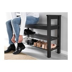 "IKEA - HEMNES Bench with shoe storage Bench with shoe storage. Size: 33 "" Have a seat while putting on your shoes. The simple, classical design with a touch of tradition looks great with other furniture in the HEMNES series. Shoe Storage White, Diy Shoe Storage, Diy Shoe Rack, Bench With Shoe Storage, Storage Ideas, Entryway Shoe Rack, Clothes Storage, Shoe Racks, Storage Design"