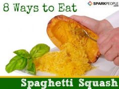 42 calories!!!!!  8 ways to eat spaghetti squash.  And how to cook it. Great alternative to spaghetti!