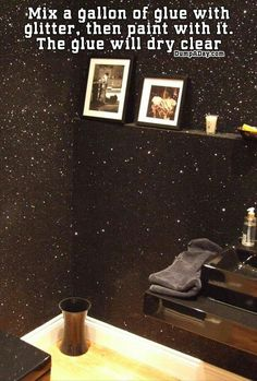"""Do the ceiling black with glitter. Cute """"night sky"""" look"""
