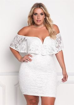 Plus Size Clothing | Plus Size Floral Lace Off Shoulder Bodycon Dress | Debshops