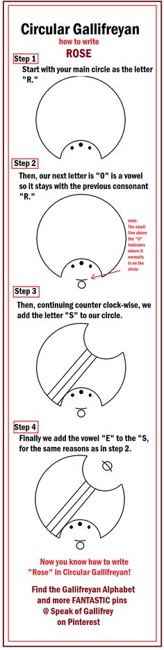 How to write Rose in Circular Gallifreyan. Find more awesome pins and tutorials on how to write in Circular Gallifreyan on Pinterest at Speak of Gallifrey.
