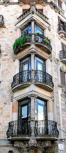 Old architecture balconies