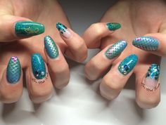 Mermaid Nails with CND shellac colours 'Art Basil' & 'Cerulean Sea', @lovelecente glitter 'Ariel'